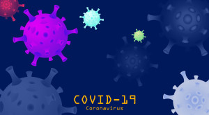 Concept Coronavirus (2019-nCoV). Background with realistic 3d  v