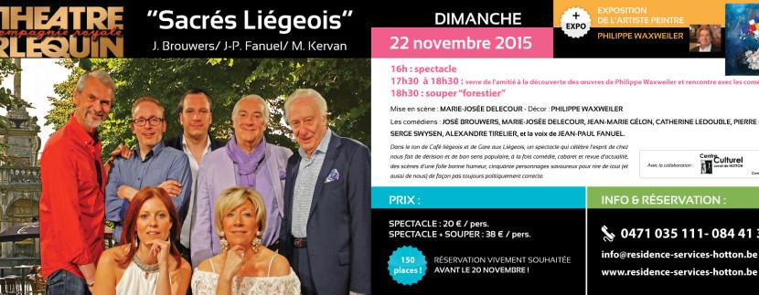 """Spectacle """"Sacrés Liégeois"""" ce 22 novembre"""